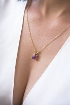 Your place to buy and sell all things handmade Amethyst Necklace, Stone Necklace, Gold Necklace, Raw Stone Jewelry, Raw Amethyst, Engagement Gifts, Sterling Silver Chains, Fashion Necklace, Valentine Gifts