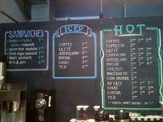Chalkboard menus at Kickstand Espresso Bar in Chicago