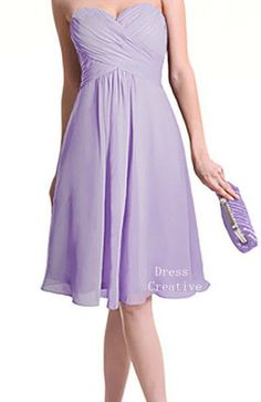 Sweetheart Bridesmaid Dress, Custom Chiffon Empire Waist Lavender Short Dress via Etsy - another timeless look, won't go out of style, not to mention the perfect shade of lavender! Grad Dresses, Homecoming Dresses, Cute Dresses, Prom, Lavender Bridesmaid, Wedding Bridesmaid Dresses, Bridesmaid Ideas, Wedding Looks, Dream Wedding