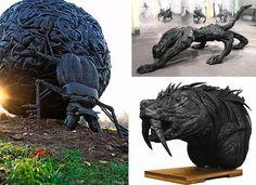 tire sculptures Mirko Siakkou-Flodin