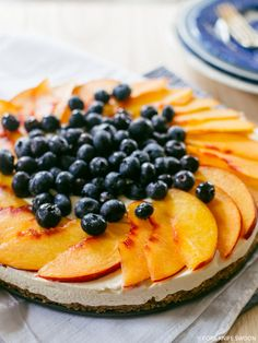 No-Bake Cheesecake with Nectarines and Blueberries | Fork Knife Swoon