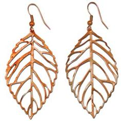 "@WorldCrafts Copper Leaf Earrings- 2"" red copper leaf earrings made by Refugee Beads in Atlanta, GA.  This artisan group provides hope and opportunity to the wives of immigrant pastors. #fairtrade #set1free"