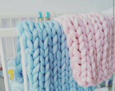 Chunky knit blanket Giant knitted Baby blaket Chunky Knit Throw Merino Wool Blanket Nursery decor gift UK seller