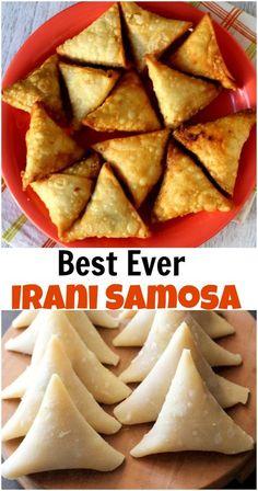 Popular Irani Samosa or crispy onion samosa recipe with step by step photos. They are the best samosas ever! www.sailusfood.com