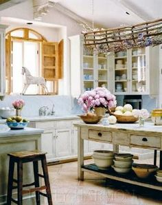 French Country Kitchen Decorating Ideas - vintage furniture makes its way into the kitchen