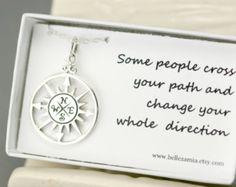 Sterling Silver Compass Necklace - Compass Pendant - Friendship Gift - Friend Necklace - Graduation Necklace - Compass Charm