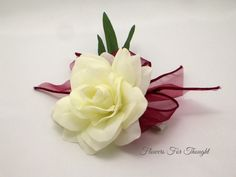 Gardenia Wrist Corsage FFT Original Design by FlowersForThought