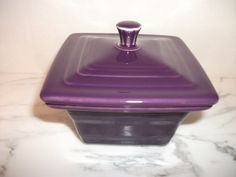 Fiesta® Dinnerware Square Covered Box in Mulberry. Created exclusively for Belk Department Stores by Homer Laughlin China Company. Made in the USA