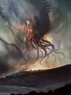 A storm is coming by Felipe Escobar Bravo Necronomicon Lovecraft, Lovecraft Cthulhu, Hp Lovecraft, Dark Fantasy Art, Fantasy Artwork, Dark Art, Arte Horror, Horror Art, Call Of Cthulhu Rpg