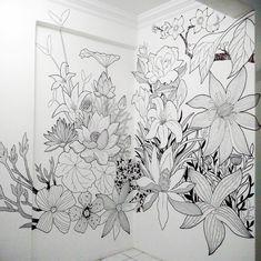 Sharpie Floral Mural Art
