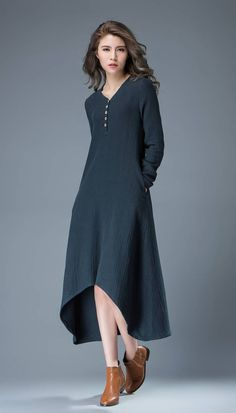 Navy Blue Linen Dress Maxi Dress Spring Summer Dress от YL1dress