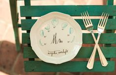 Customized mister and mrs wedding forks on Style Me Pretty  Photography : Juliana Laury Photography Read More on SMP: http://www.stylemepretty.com/pennsylvania-weddings/2014/05/20/andrew-wyeth-art-inspired-inspiration-shoot/