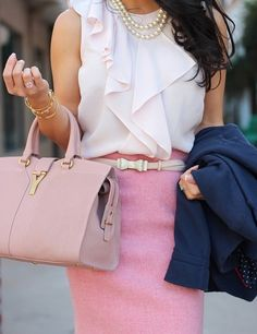 A very feminine chic office look.  Fashion equality in the workplace means that all people will be able to express femininity freely in a work-appropriate way.