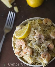 Tender shrimp and pasta get tossed together in scampi sauce with garlic and parmesan! {CenterCutCook}
