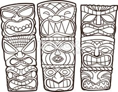 Find Vintage Carved Polynesian Tiki Totem Vector stock images in HD and millions of other royalty-free stock photos, illustrations and vectors in the Shutterstock collection. Tiki Tattoo, Totem Pole Drawing, Totems, Colouring Pages, Coloring Books, Tiki Maske, Tiki Faces, Tiki Head, Tiki Totem