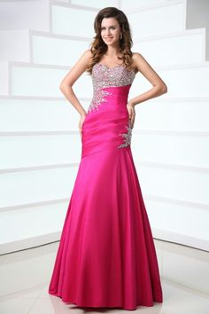 Sheath Sweetheart Floor Train Taffeta with Beadwork Evening Dress, do you like this style? More in our website:www.dolce2dolce.com