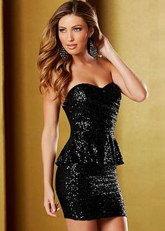 """@Chelsea Rose Cruise Dress? VENUS.COM Black (BK) Sequin Peplum Dress $79  It's your night, so indulge yourself and make it one to remember forever! ·  Overlap at bust with side seam pleats   ·  Exposed gold back zip   ·  18"""" in length from natural waist   ·  95% Nylon, 5% spandex; lining: poly/spandex   ·  Imported  · Style #Y38708"""