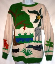 vintage Jungle tropics oversized comfy sweater by Cotton Salsa lions tiger  bears oh my. ecf06eb7214c