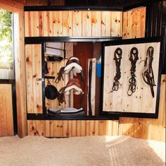 Corner tack locker - shown here installed in the stall itself at a boarding facility. From Classic Equine Equipment.