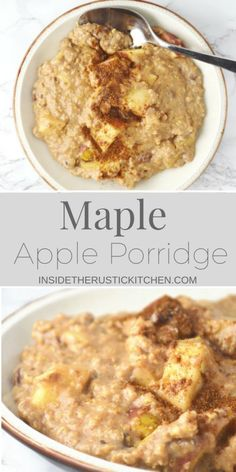 This Maple Apple Porridge recipe is so comforting and delicious you will love waking up to a big bowl of this on these chilly mornings. http://www.insidetherustickitchen.com