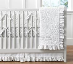 All White Ruffle Bumper and Skirt Ruffle Collection Nursery Bedding #pbkids