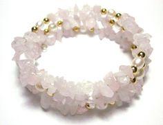 Soft Feminine Pink Rose Quartz Freshwater Pearl Coil Bracelet by SplendidStones. $22.50, via Etsy.