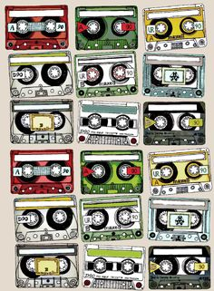 "Printable -- Mix Tape Art -- Great Cutouts for My ""Current Playlist"" Pages. They Would Also Make Cute Gift Tags! UPDATE: I did use these for my ""Current Playlist"" Page. They worked perfectly! Plus one printout produces 18 pieces...lots of cutting but worth it."