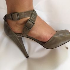 Classiques Entier Strappy heels w/ snakeskin Beautiful deep steel grey leather heels by Classiques Entier - sold at Nordstrom.  They have an open toe, straps that criss cross across the front of the foot, braided straps, and an embosses snakeskin style heel.  Heel is 3 inches. Classiques Entier Shoes Heels