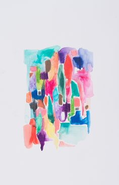 Abstract blue hues watercolour art print on paper and canvas 'Welcome to the Jungle' www.jenniferlia.com
