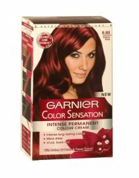 Garnier Color Sensation Hair Colour Cream 6.60 Intense Ruby 1st intense hair colour with Mother-of-Pearls & Flower Extract for a Sensational Colour.  100% grey coverage Mirror shine enriched with mother-of-pearls and flower extract, the colour shimmers with mirror shine from root to tip and is left beautifully soft to the touch. Its rich creamy texture envelops the hair, without dripping. Lasts 6 to 8 weeks. Permanent colour