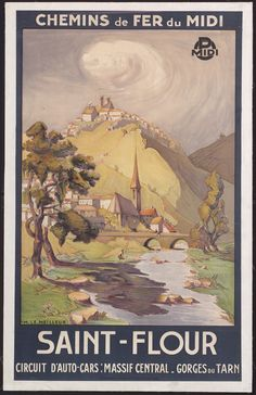 Vintage Railway Travel Poster ~ Saint Flour ~ Massif Central - Gorges de Tarn…