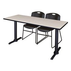 Cain 72 inch x 24 inch Mahogany Training Table and 2 Zeng Stack Chairs, Multiple Colors, Gray