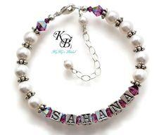 Personalized Jewelry, Flower Girl Jewelry, Sterling Silver, Flower Girl Bracelet, Flower Girl Gift, Birthstone Jewelry, Little Girl Bracelet