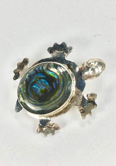 Excited to share the latest addition to my #etsy shop: Sterling Turtle Brooch Abalone Inlay Marked 925 Vintage Southwest Design