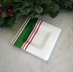Christmas bowl fused glass holiday decoration, white w green and red stripes, stocking stuffer idea by Glasspainter1, $23.00