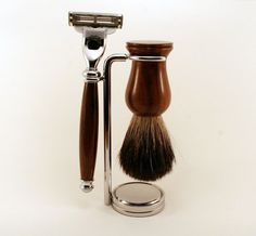 Black Badger Shave Brush Razor and Stand by SoapNaturallyGoode