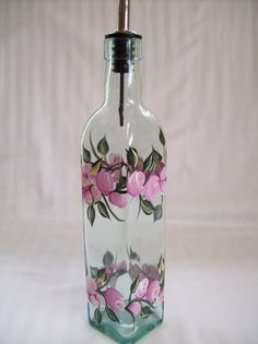 Hand painted oil decanterroses and rosebudspink by Morningglories1, $20.00