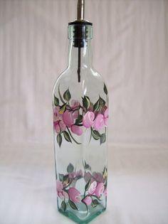 Oil dispenser oil bottle oil decanter glass oil by Painted Glass Bottles, Recycled Glass Bottles, Glass Bottle Crafts, Painted Wine Glasses, Decorated Bottles, Wine Bottle Vases, Bottles And Jars, Bottle Bottle, Olive Oil Bottles