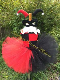 Jester Tutu Black and Red tutu Jester Dress by SouthernDreamMakers