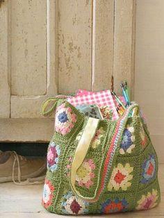 Granny square crochet project bag