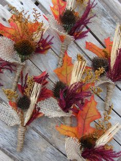 wheat and leaf boutonieres