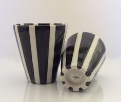 pair of striped porcelain tumblers