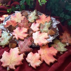 Fall leaves Leaf Cookies, Fall Cookies, Fall Decorated Cookies, Biscuits, Christmas Stencils, Perfect Cookie, Cookie Gifts, Fall Is Here, Halloween Cookies
