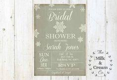 Acquazzone Bridal Vintage inverno invitare, invito con fiocchi di neve, invito fai da te semplice casuale, stampabile, rustici inverno invito di nozze