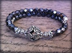 25% Donated to Local Animal Rescue - Hematite Bracelet Stackable Bangle Crystal by OneKraftyKitten, $17.25