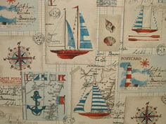 Nautical Seaside Boat Natural Linen Look Designer Curtain Upholstery Quality Cotton Fabric