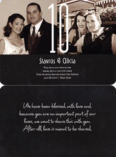 Our 10 year wedding anniversary invite - front & back - black & white #renewalofvows