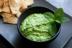 A tangy, vibrant dip or hummus-like spread made from peas, tahini, sour cream and mint.
