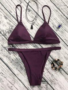 Low Waisted Spaghetti Strap Bikini Set - Wine Red (Only $15 and FREE SHIPPING) - They also have verified reviews!
