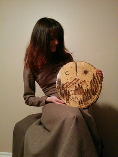 """One Day in the Carpathians"" Cracked Silver Maple wood cookie. Handmade wood burning."